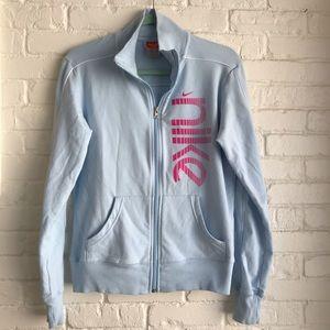 Nike Blue Athletic zip up jacket Large Just do it